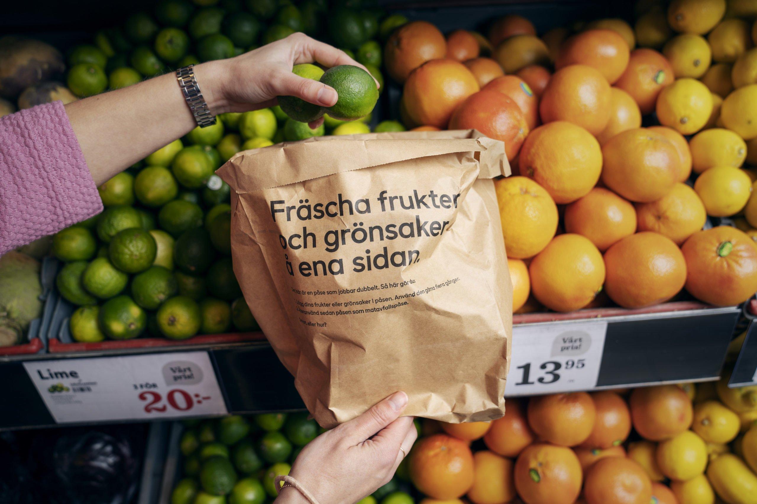 Papperspåse att plocka frukt och grönt i