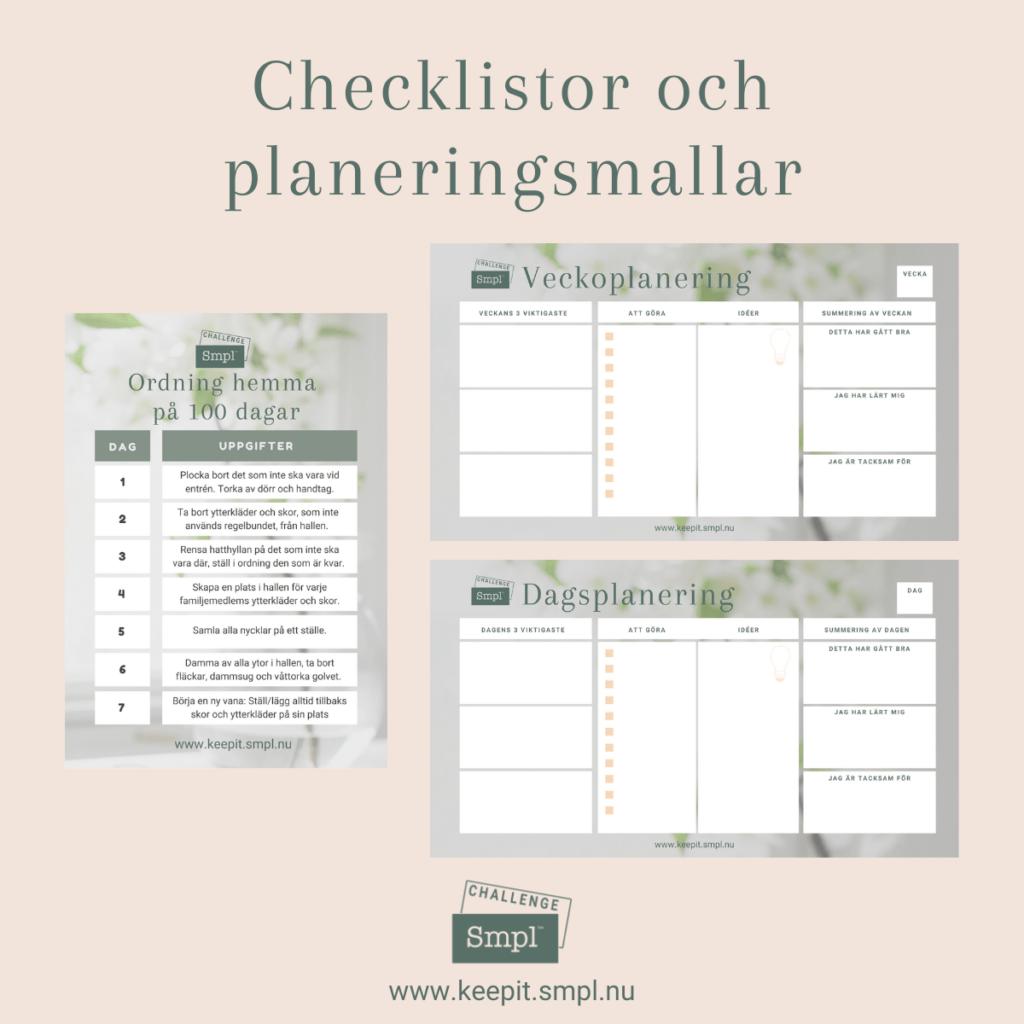 Checklistor och planeringsmallar i utmaningen Ordning hemma på 100 dagar