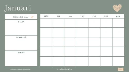 Bild på Grön månadskalender från Smpl