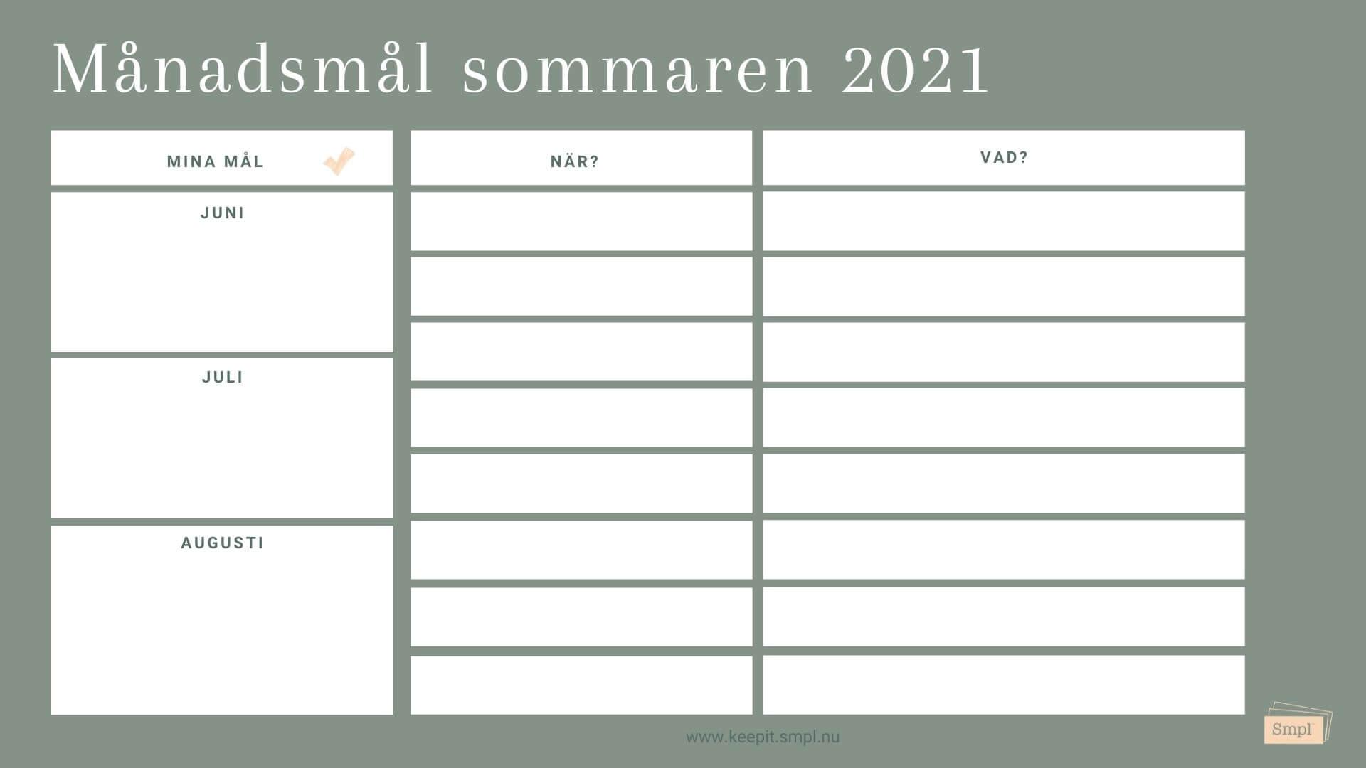 Smpl's målmall för sommaren 2021